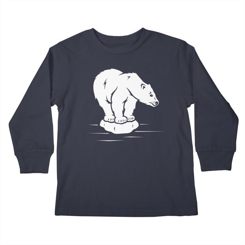 Save the Polar Bears, Isolated Polar Bear on Slab of Ice Kids Longsleeve T-Shirt by frippdesign's Artist Shop