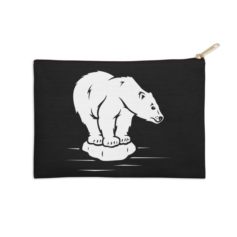 Save the Polar Bears, Isolated Polar Bear on Slab of Ice Accessories Zip Pouch by frippdesign's Artist Shop