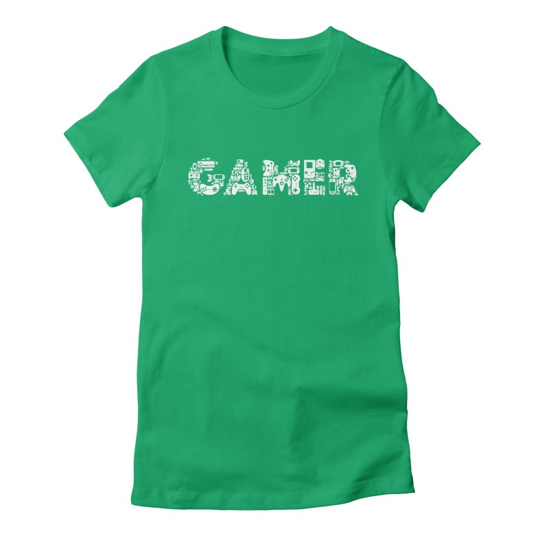 Gamer Classic Video Game Console Controller Collage - Nintendo, Sega, Playstation, Xbox, Atari Women's Fitted T-Shirt by frippdesign's Artist Shop
