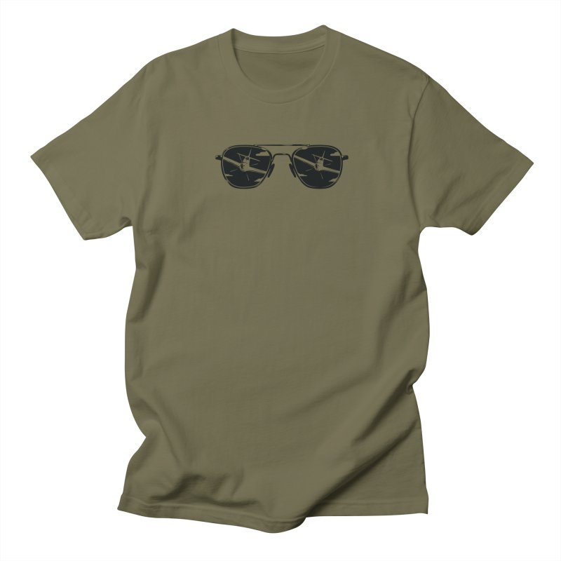 Aviators P-51 Fighter Plane Attack Reflection in Sunglasses Men's T-Shirt by frippdesign's Artist Shop