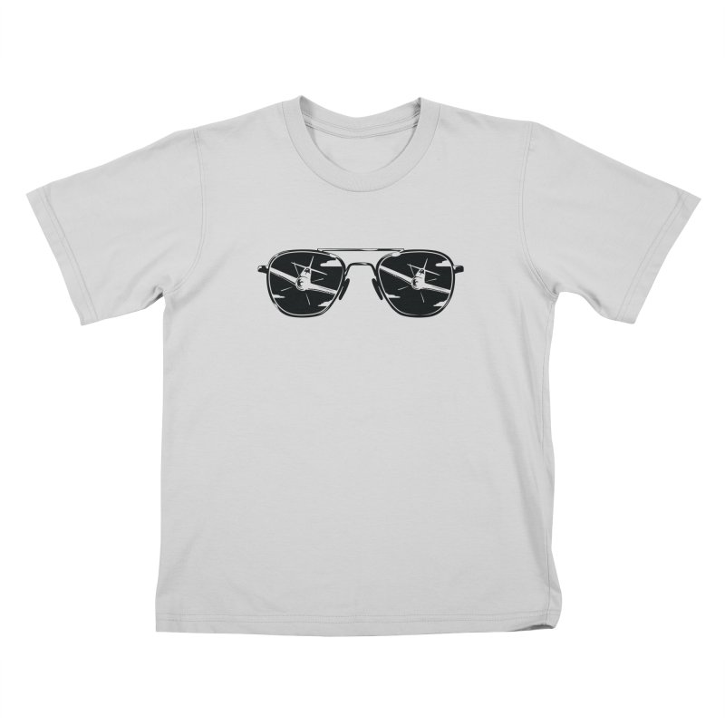 Aviators P-51 Fighter Plane Attack Reflection in Sunglasses Kids T-Shirt by frippdesign's Artist Shop