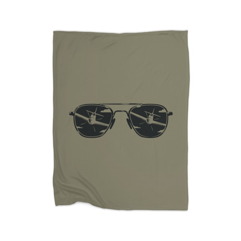 Aviators P-51 Fighter Plane Attack Reflection in Sunglasses Home Throw Pillow by frippdesign's Artist Shop