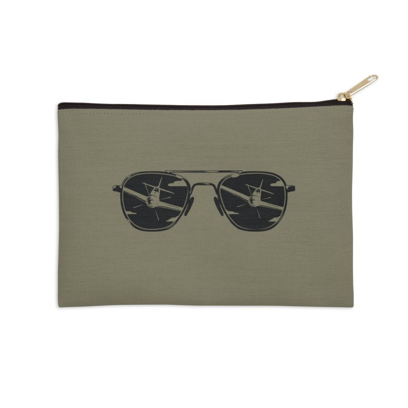 Aviators P-51 Fighter Plane Attack Reflection in Sunglasses Accessories Zip Pouch by frippdesign's Artist Shop