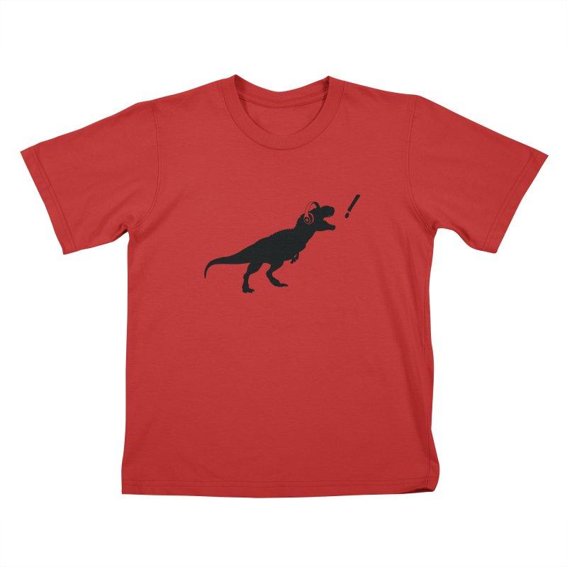 T-Rex Dinosaur with Headphones Shirt. Tyrannosaurs Rex Music DJ. Kids T-Shirt by frippdesign's Artist Shop