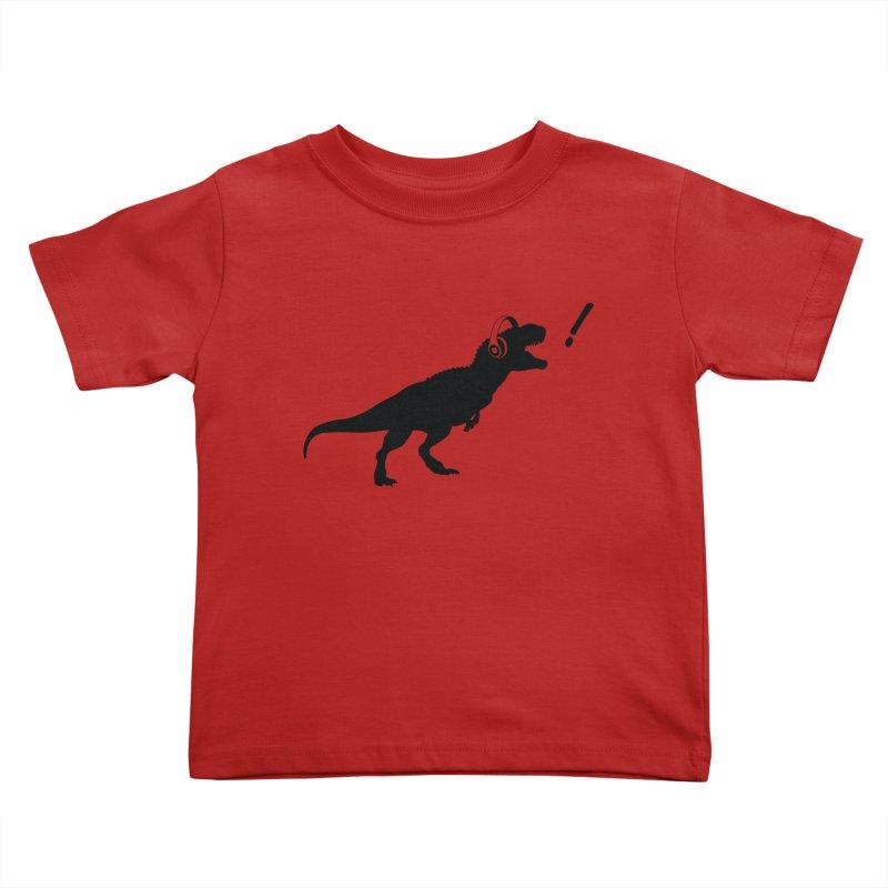 T-Rex Dinosaur with Headphones Shirt. Tyrannosaurs Rex Music DJ. in Kids Toddler T-Shirt Red by frippdesign's Artist Shop