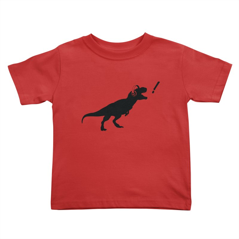 T-Rex Dinosaur with Headphones Shirt. Tyrannosaurs Rex Music DJ. in Kids Toddler T-Shirt Red by frippdesign's Artist Shop