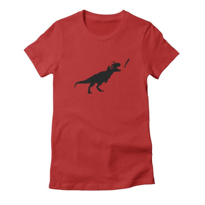 T-Rex Dinosaur with Headphones Shirt. Tyrannosaurs Rex Music DJ. Women's Fitted T-Shirt by frippdesign's Artist Shop