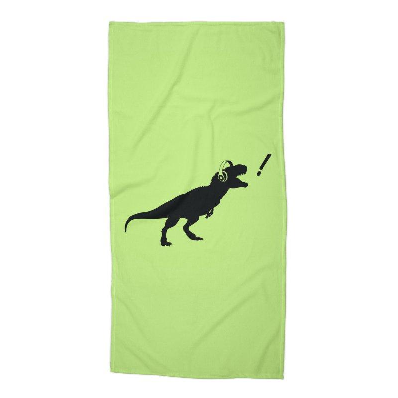 T-Rex Dinosaur with Headphones Shirt. Tyrannosaurs Rex Music DJ. Accessories Beach Towel by frippdesign's Artist Shop