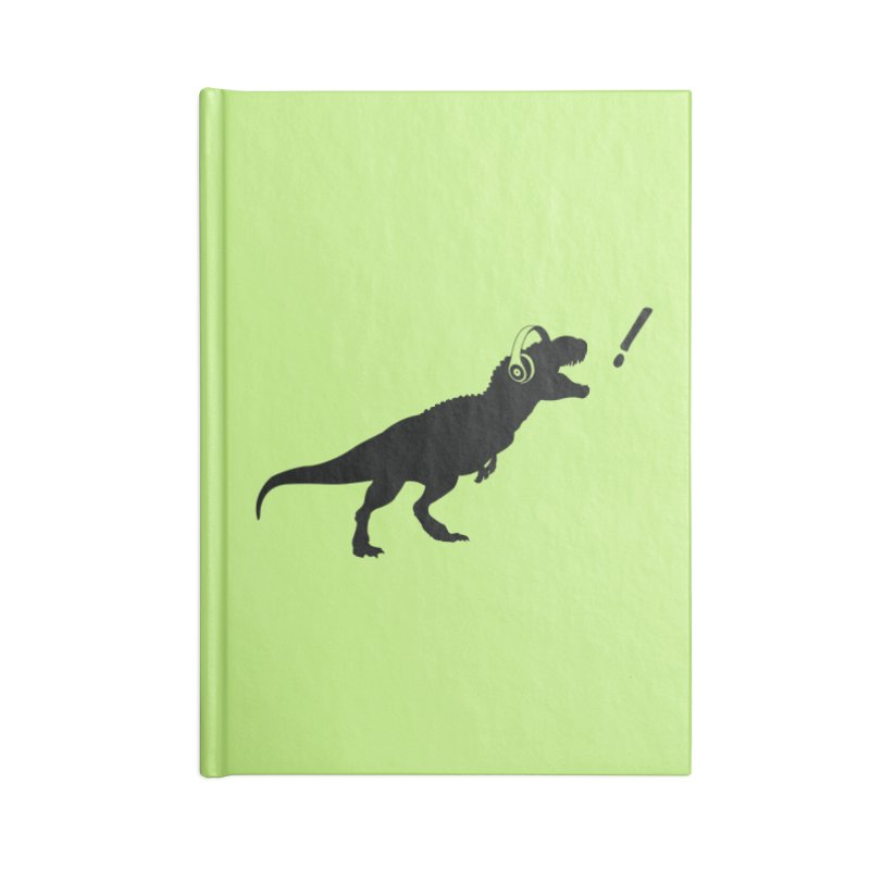 T-Rex Dinosaur with Headphones Shirt. Tyrannosaurs Rex Music DJ. Accessories Notebook by frippdesign's Artist Shop