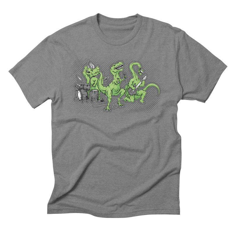 "Dinosaur Music Illustration ""D-Stones Jurassic Rock Band"" Men's Triblend T-shirt by frippdesign's Artist Shop"