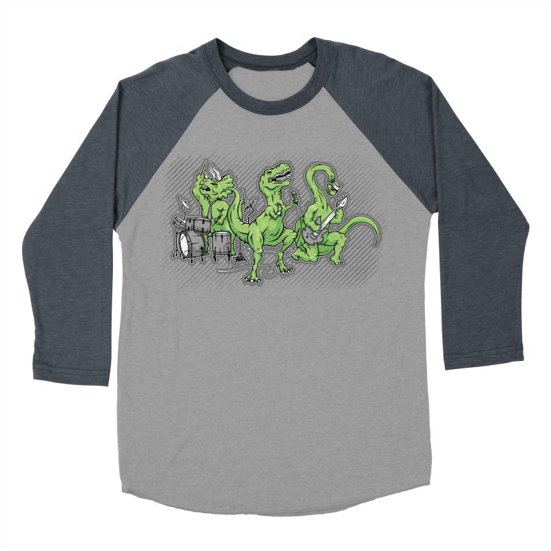 "Dinosaur Music Illustration ""D-Stones Jurassic Rock Band"" Men's Baseball Triblend T-Shirt by frippdesign's Artist Shop"