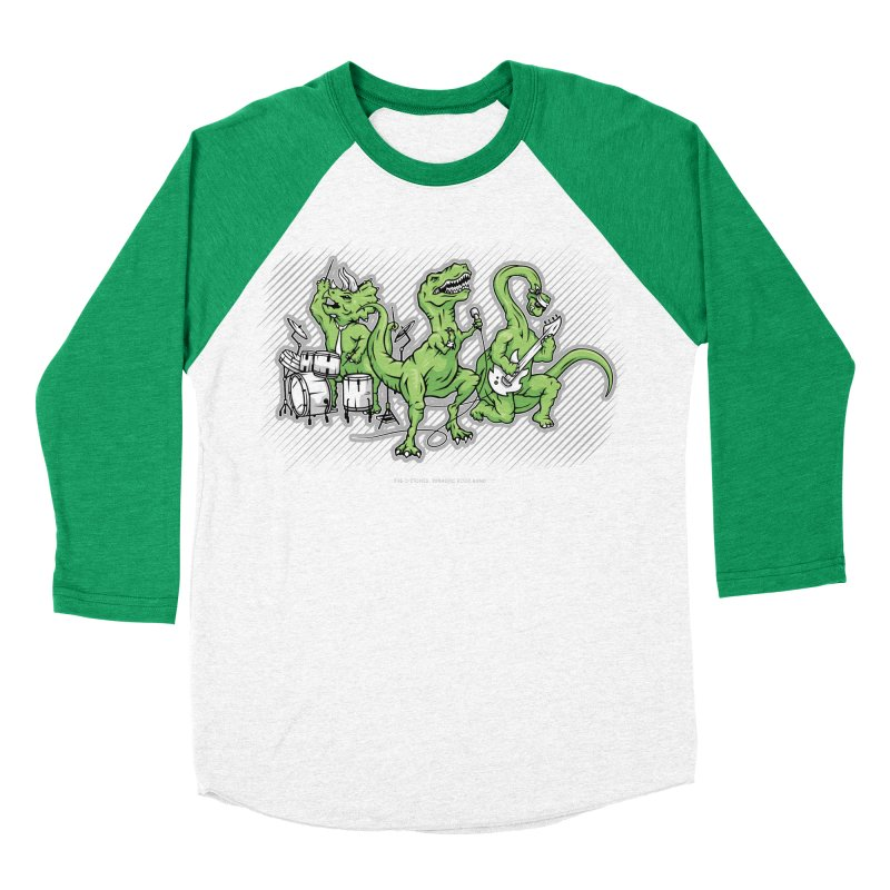 "Dinosaur Music Illustration ""D-Stones Jurassic Rock Band"" in Men's Baseball Triblend T-Shirt Tri-Kelly Sleeves by frippdesign's Artist Shop"