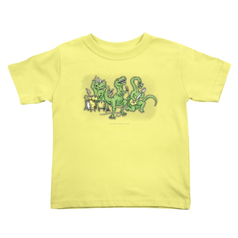 "Dinosaur Music Illustration ""D-Stones Jurassic Rock Band"" Kids Toddler T-Shirt by frippdesign's Artist Shop"