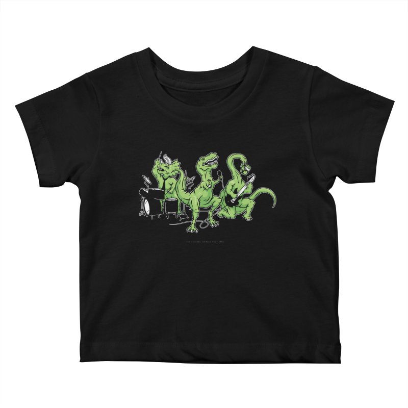 "Dinosaur Music Illustration ""D-Stones Jurassic Rock Band"" Kids Baby T-Shirt by frippdesign's Artist Shop"