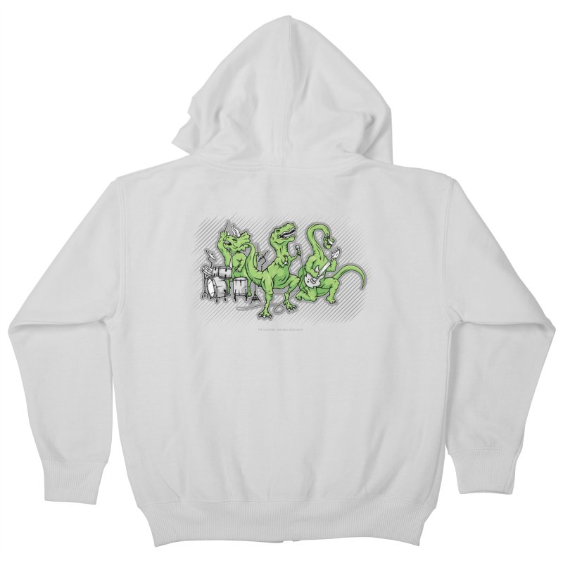 "Dinosaur Music Illustration ""D-Stones Jurassic Rock Band"" Kids Zip-Up Hoody by frippdesign's Artist Shop"
