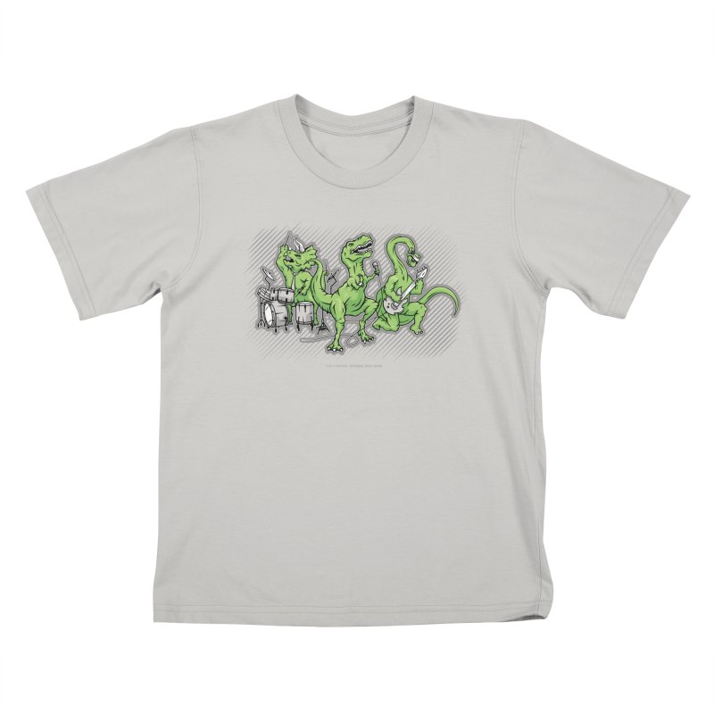 "Dinosaur Music Illustration ""D-Stones Jurassic Rock Band"" Kids T-Shirt by frippdesign's Artist Shop"