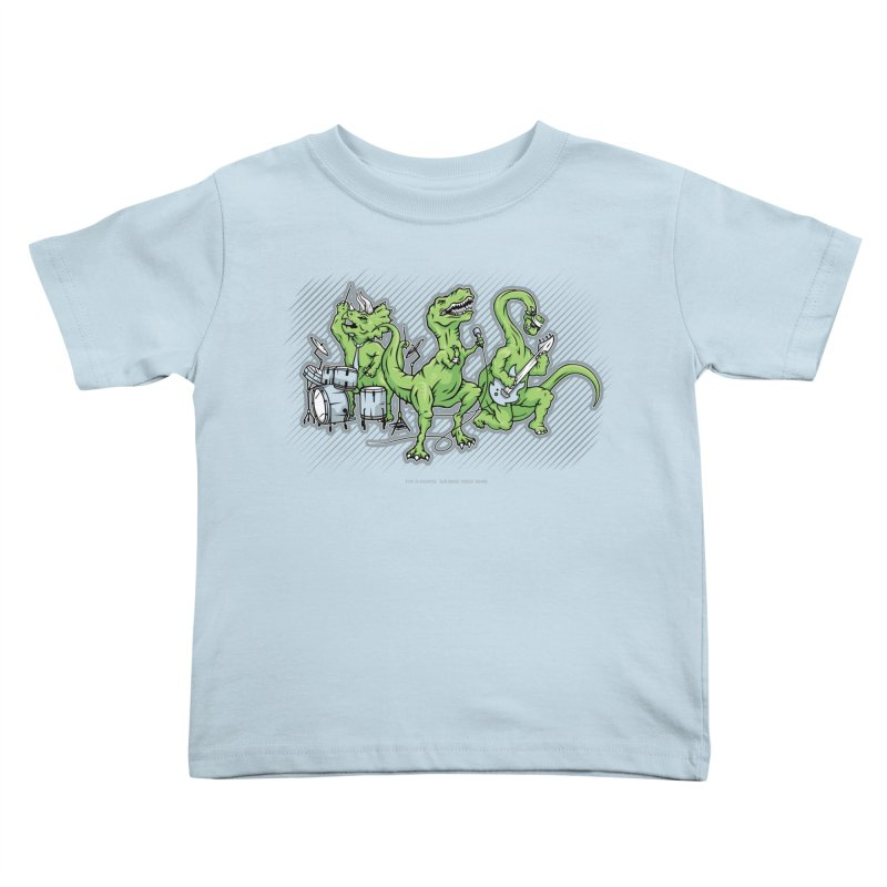 "Dinosaur Music Illustration ""D-Stones Jurassic Rock Band"" in Kids Toddler T-Shirt Baby Blue by frippdesign's Artist Shop"