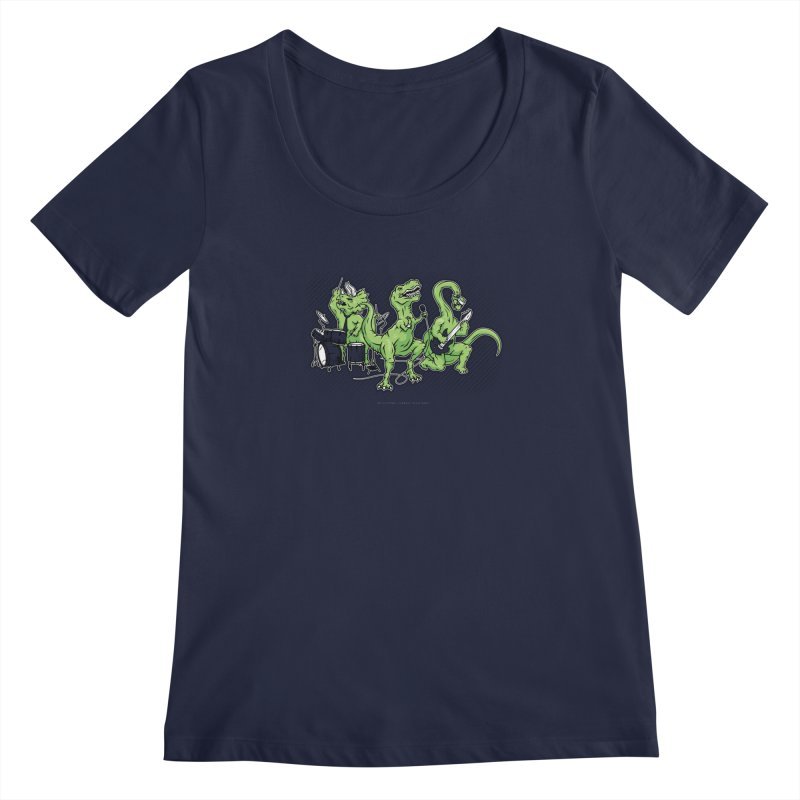 "Dinosaur Music Illustration ""D-Stones Jurassic Rock Band"" Women's Scoopneck by frippdesign's Artist Shop"