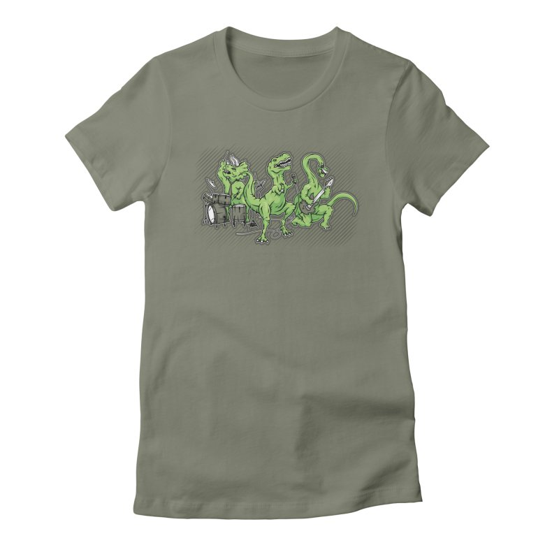 """Dinosaur Music Illustration """"D-Stones Jurassic Rock Band"""" Women's Fitted T-Shirt by frippdesign's Artist Shop"""