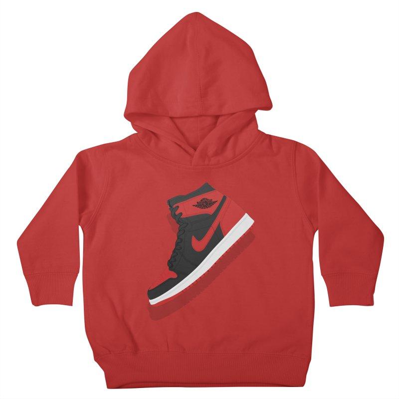 "Air Jordan 1 ""Banned"" Illustration, Vintage Kicks Sneaker Art Kids Toddler Pullover Hoody by frippdesign's Artist Shop"