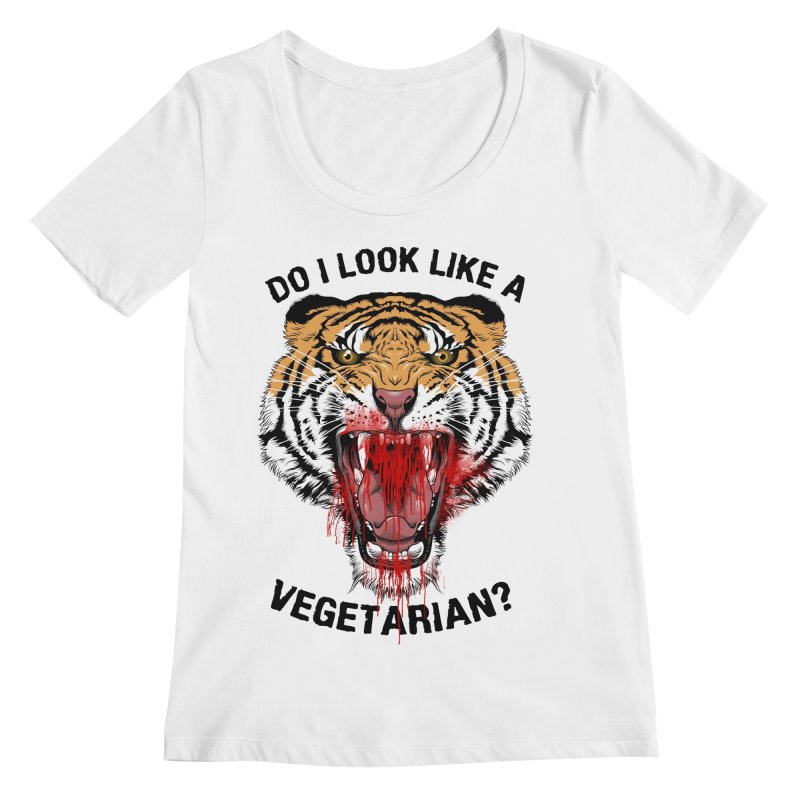 DO I LOOK LIKE A VEGETARIAN? Women's Scoopneck by frogafro's Artist Shop