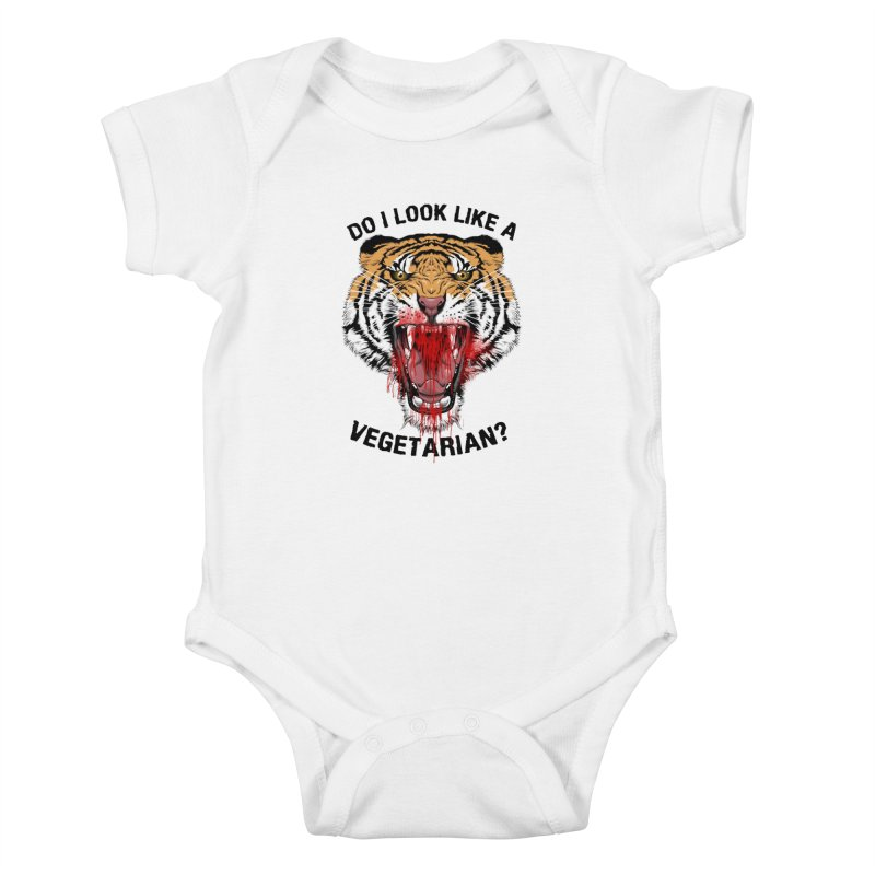 DO I LOOK LIKE A VEGETARIAN? Kids Baby Bodysuit by frogafro's Artist Shop