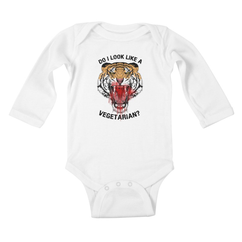 DO I LOOK LIKE A VEGETARIAN? Kids Baby Longsleeve Bodysuit by frogafro's Artist Shop