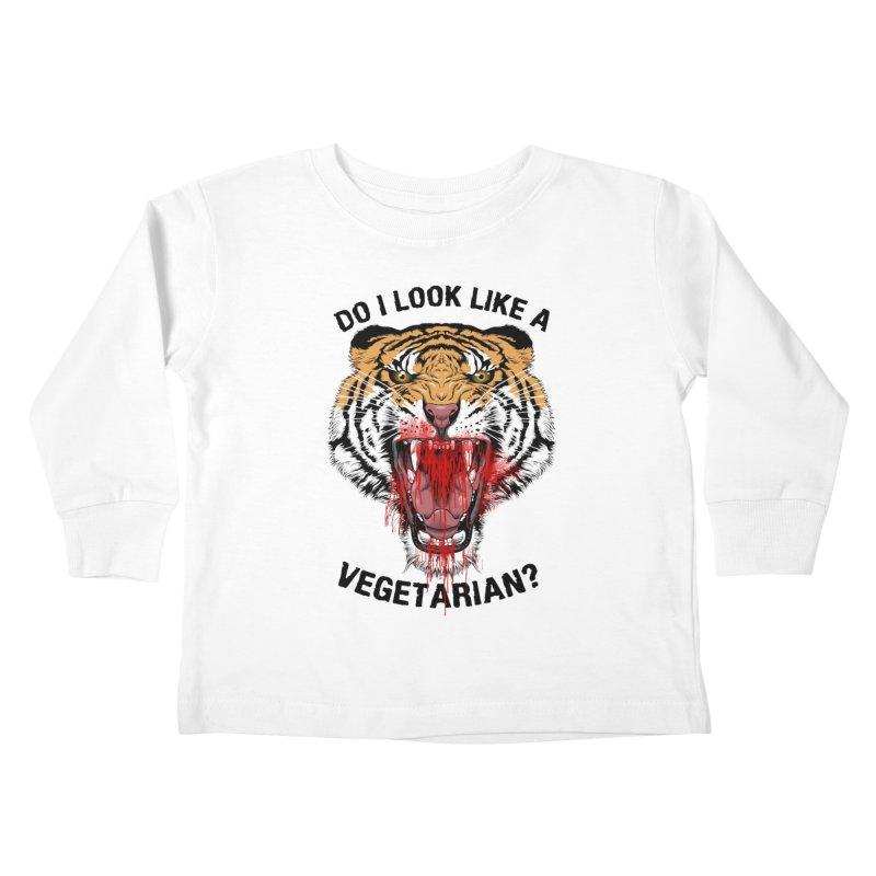 DO I LOOK LIKE A VEGETARIAN? Kids Toddler Longsleeve T-Shirt by frogafro's Artist Shop