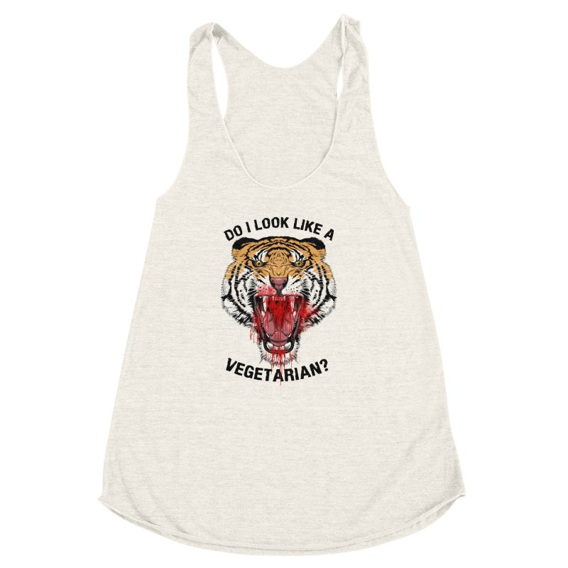 DO I LOOK LIKE A VEGETARIAN? Women's Racerback Triblend Tank by frogafro's Artist Shop