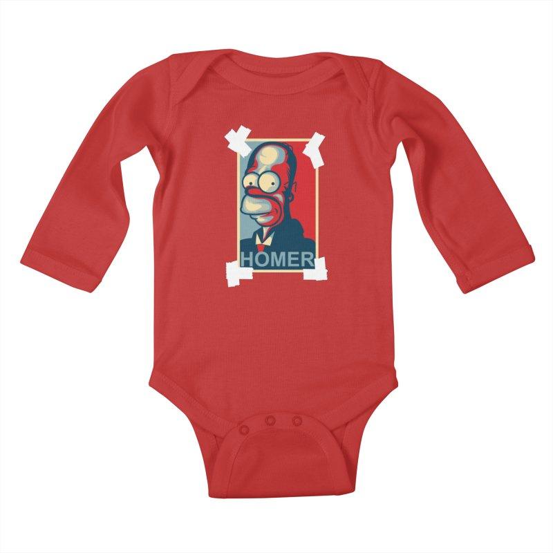 HOMER Kids Baby Longsleeve Bodysuit by frogafro's Artist Shop