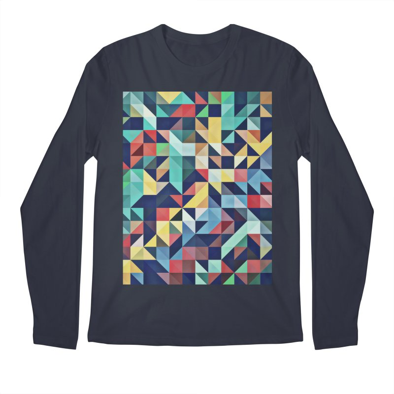 MODERN COLORFUL RETRO GEOMETRIC Men's Longsleeve T-Shirt by fruityshapes's Shop