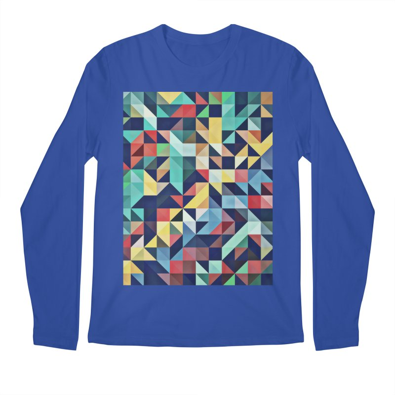 MODERN COLORFUL RETRO GEOMETRIC Men's Regular Longsleeve T-Shirt by fruityshapes's Shop