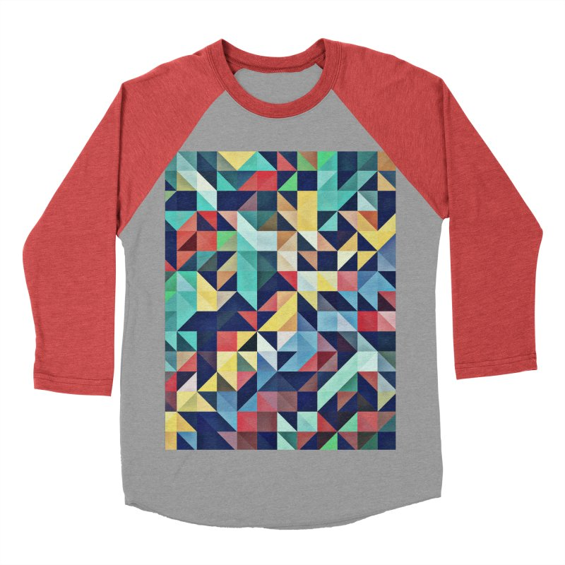 MODERN COLORFUL RETRO GEOMETRIC Men's Baseball Triblend Longsleeve T-Shirt by fruityshapes's Shop