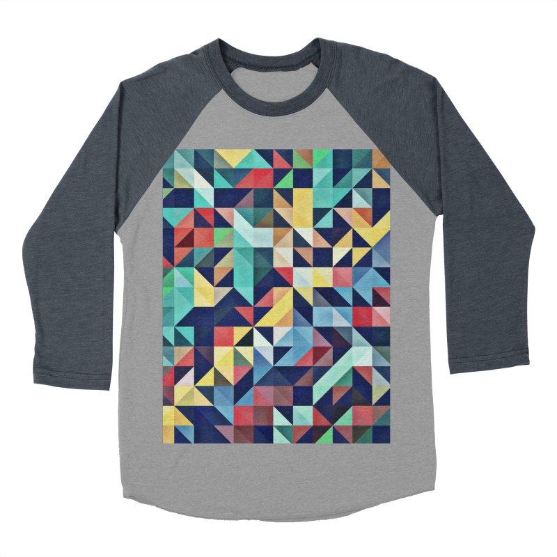 MODERN COLORFUL RETRO GEOMETRIC Men's Baseball Triblend T-Shirt by fruityshapes's Shop