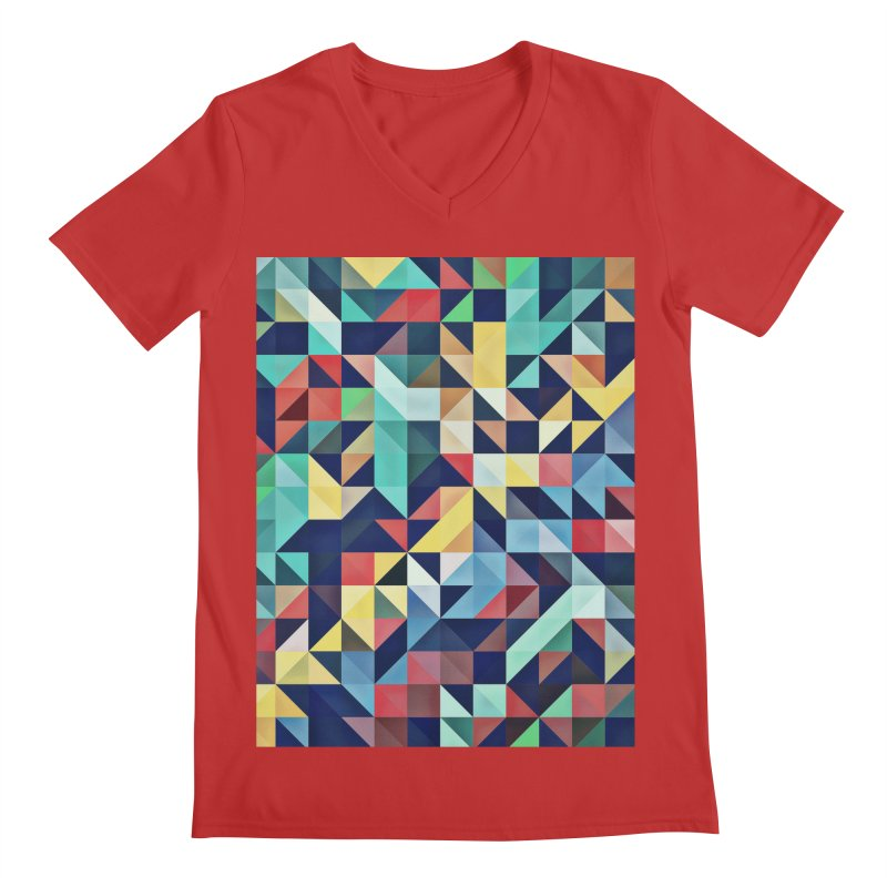 MODERN COLORFUL RETRO GEOMETRIC Men's V-Neck by fruityshapes's Shop