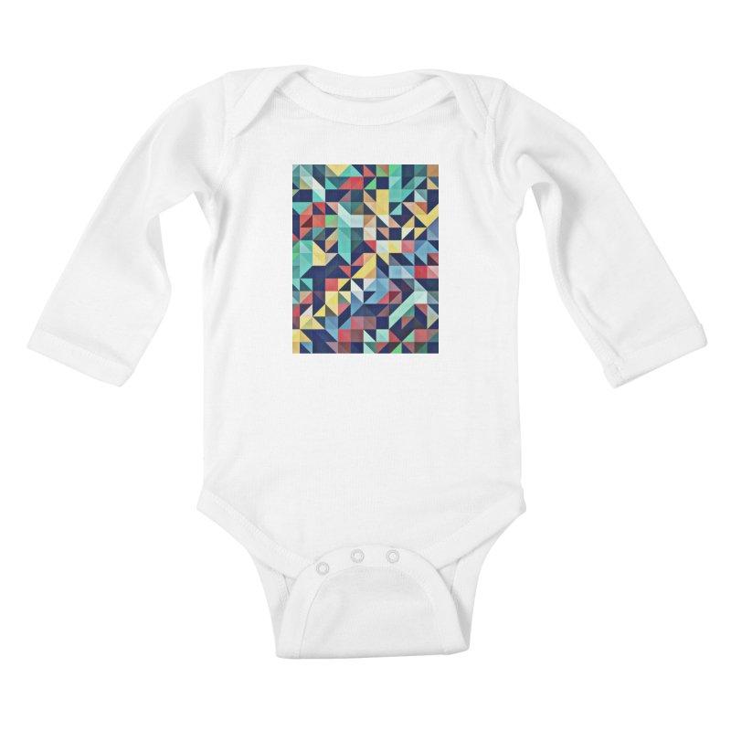 MODERN COLORFUL RETRO GEOMETRIC Kids Baby Longsleeve Bodysuit by fruityshapes's Shop