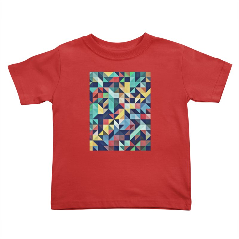 MODERN COLORFUL RETRO GEOMETRIC Kids Toddler T-Shirt by fruityshapes's Shop