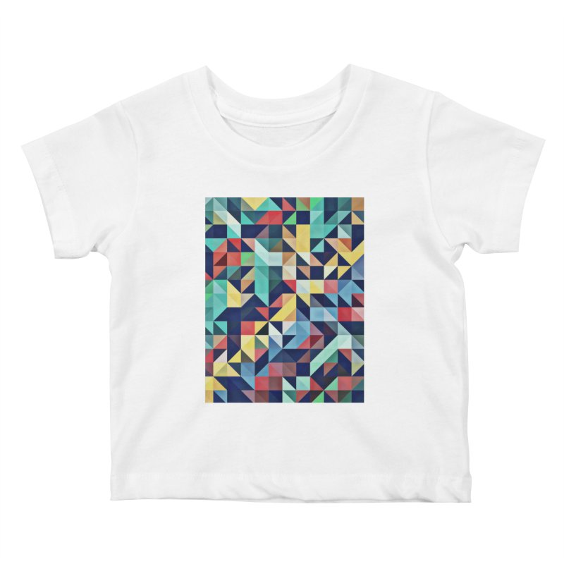 MODERN COLORFUL RETRO GEOMETRIC Kids Baby T-Shirt by fruityshapes's Shop