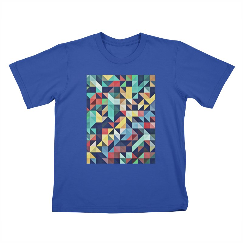 MODERN COLORFUL RETRO GEOMETRIC Kids T-Shirt by fruityshapes's Shop