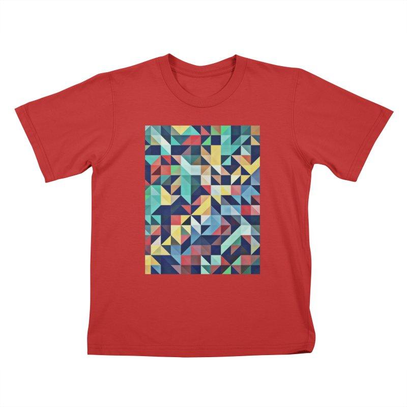 MODERN COLORFUL RETRO GEOMETRIC Kids T-Shirt by fruityshapes's Shop