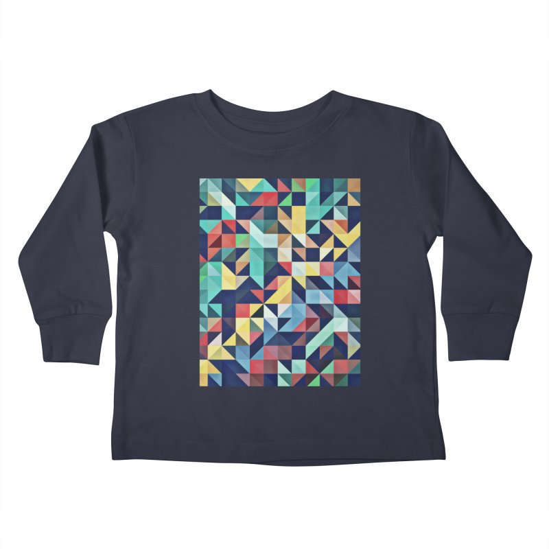 MODERN COLORFUL RETRO GEOMETRIC Kids Toddler Longsleeve T-Shirt by fruityshapes's Shop