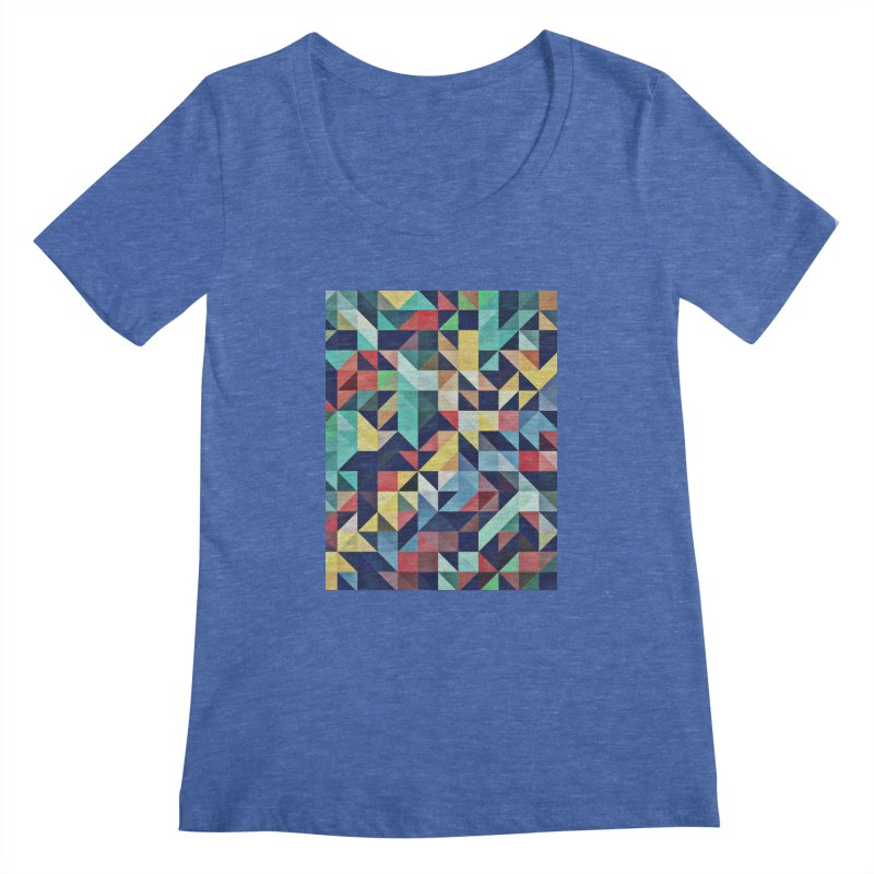MODERN COLORFUL RETRO GEOMETRIC Women's Scoopneck by fruityshapes's Shop