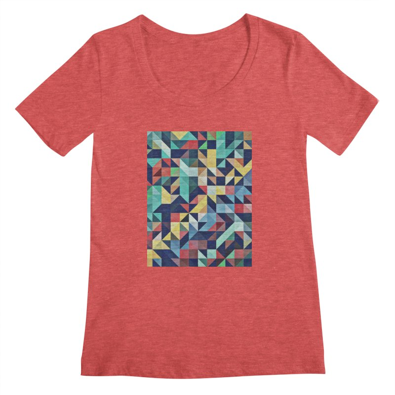 MODERN COLORFUL RETRO GEOMETRIC Women's Regular Scoop Neck by fruityshapes's Shop