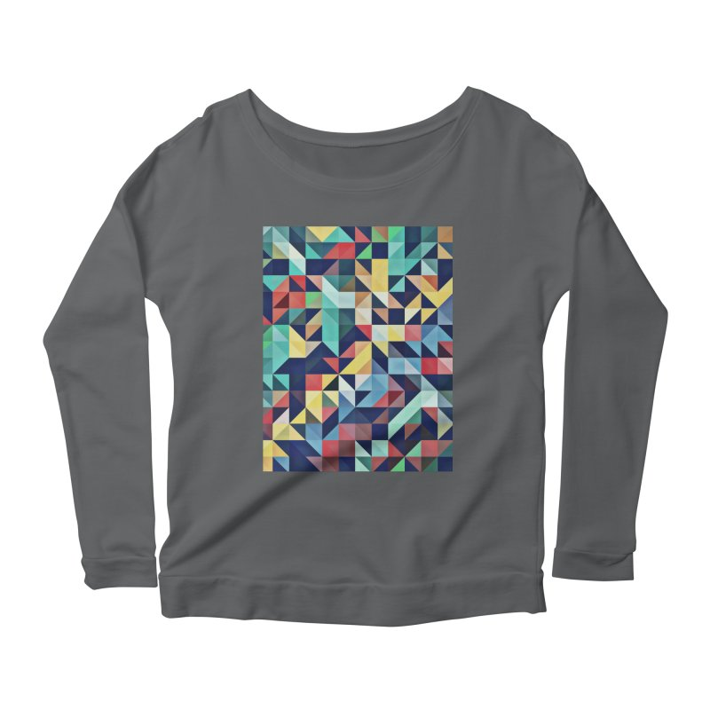 MODERN COLORFUL RETRO GEOMETRIC Women's Scoop Neck Longsleeve T-Shirt by fruityshapes's Shop