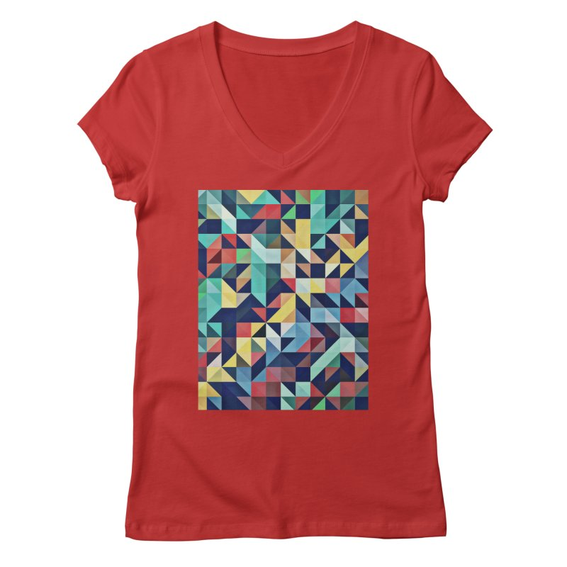 MODERN COLORFUL RETRO GEOMETRIC Women's Regular V-Neck by fruityshapes's Shop