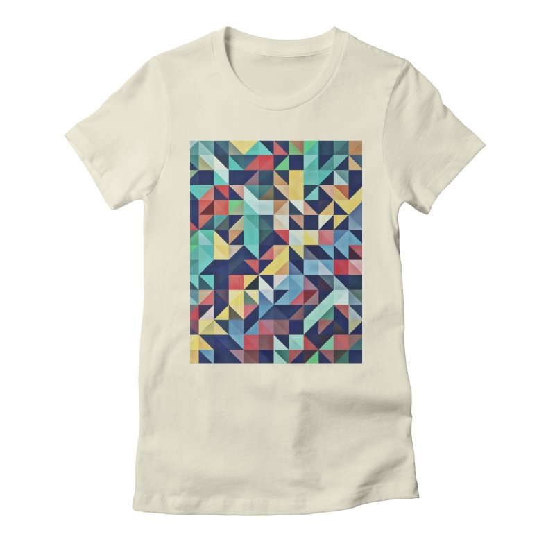 MODERN COLORFUL RETRO GEOMETRIC Women's Fitted T-Shirt by fruityshapes's Shop