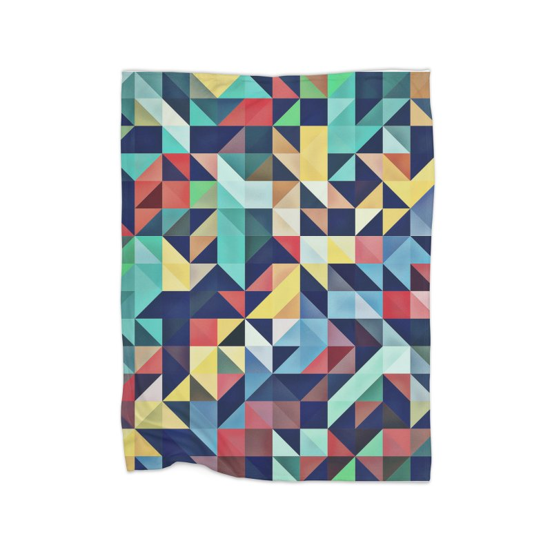 MODERN COLORFUL RETRO GEOMETRIC Home Fleece Blanket Blanket by fruityshapes's Shop