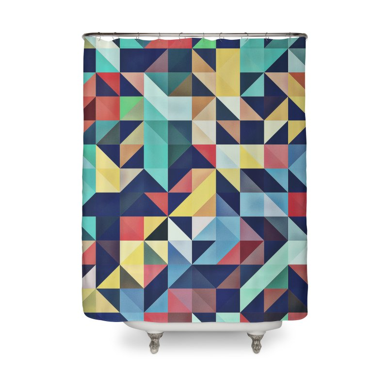 MODERN COLORFUL RETRO GEOMETRIC Home Shower Curtain by fruityshapes's Shop