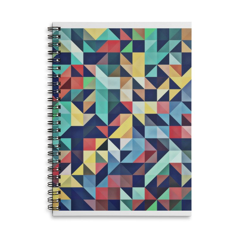 MODERN COLORFUL RETRO GEOMETRIC Accessories Lined Spiral Notebook by fruityshapes's Shop