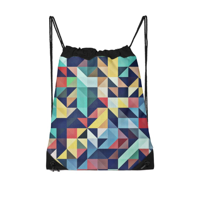 MODERN COLORFUL RETRO GEOMETRIC Accessories Drawstring Bag Bag by fruityshapes's Shop